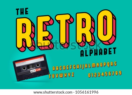 Oblique modern colorful retro font and alphabet, with realistic retro cassette, framed outlined typeface.