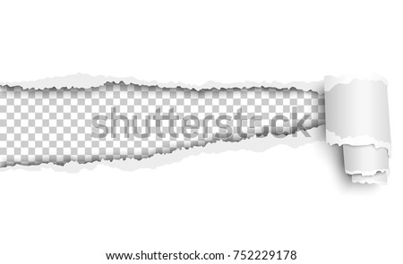 Oblong torn hole in white sheet of paper with soft shadow and paper curl. Transparent background of resulting window. Template paper design.
