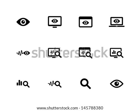 Observation and Monitoring icons on white background. Vector illustration.
