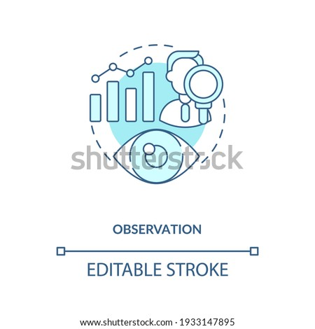 Observation concept icon. Making hypotheses and experiments idea thin line illustration. Qualitative and quantitative methods. Vector isolated outline RGB color drawing. Editable stroke Foto d'archivio ©