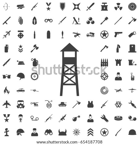 observation post icon set of