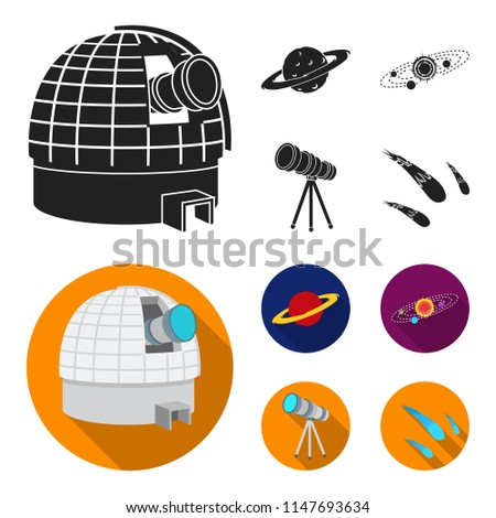 Observatory with radio telescope, planet Mars, Solar system with orbits of planets, telescope on tripod. Space set collection icons in black, flat style vector symbol stock illustration web.