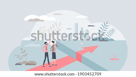 Obstacle gap problem and barrier to successfully overcome tiny person concept. Business challenge and limits risk as abyss ahead vector illustration. Courage and ambitions motivation to find solution. Сток-фото ©