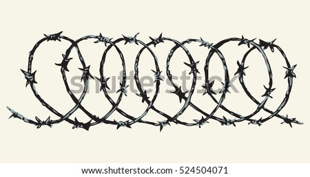 Obstacle spiral shape bob razorwire row set isolated on white backdrop. Freehand outline ink hand drawn picture sign sketch in art scribble retro style pen on paper. Closeup view with space for text