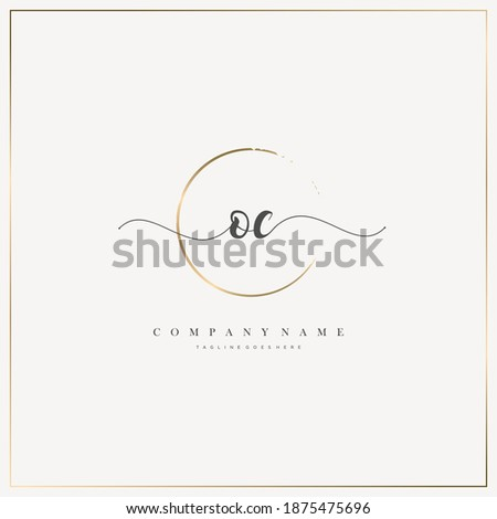 OC Initial Letter handwriting logo hand drawn template vector, logo for beauty, cosmetics, wedding, fashion and business Photo stock ©