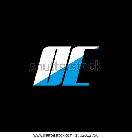 OC letter logo design on black background. OC creative initials letter logo concept. OC icon design. OC white and blue letter icon design on black background. O C Photo stock ©