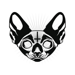 Occult Cat. Occult Cat's Head with Inverted Cross. Occultism. Esoteric Sign Alchemy. Occult Cat's Head on white background isolated.
