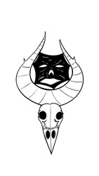 occult crown skull with face skin in horn in vector