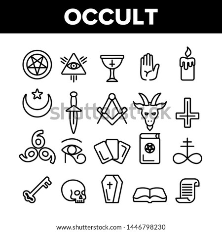 Occult, Demonic Entity Imagery Vector Linear Icons Set. Satanic Rituals, Demonic Beliefs, Superstitions. Deal With Devil, Magic, Mystic, Esoteric Lineart. Occult And Thin Line Illustration