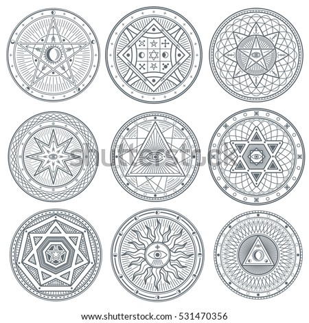 Occult, mystic, spiritual, esoteric vector symbols. Spiritual masonic tattoo symbol, illustration of spiritual religion signs