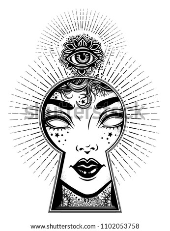 Occult psychic woman seeing world of unreal through the keyhole. Boho style mystery art. Imagination, occult concept. Isolated vector illustration. Vintage, t-shirt, secrets, tattoo, coloring books.