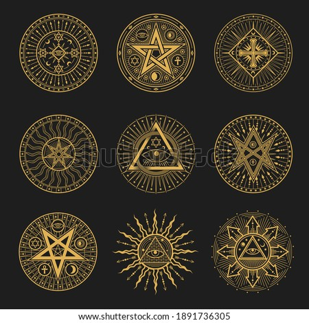 Occult signs, occultism, alchemy and astrology symbols. Vector sacred religion mystic emblems magic eye, masonry pyramid, egyptian ankh cross, sun or moon with rays, pentagrams esoteric icons set ストックフォト ©