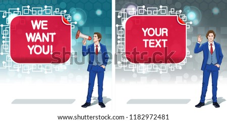 Occupation announcing banner. Advertisement concept clipart. Business invitation cards. Colorful cartoon characters. Vector illustration.