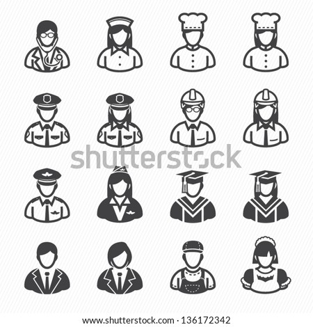 Occupation Icons and People Icons with White Background