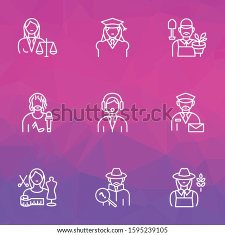 Occupation icons line style set with farmer woman, judgment, assistant and other mailman elements. Isolated vector illustration occupation icons.