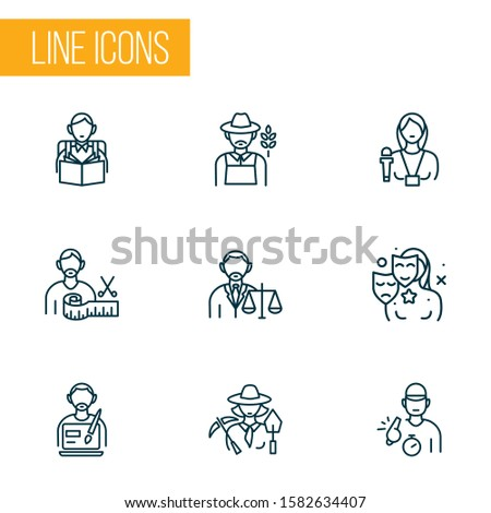 Occupation icons line style set with lawyer, interview, trainer and other archaeologist woman elements. Isolated vector illustration occupation icons.