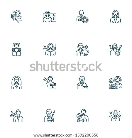 Occupation icons line style set with manager woman, sportsman, vet and other training elements. Isolated vector illustration occupation icons. Stock photo ©
