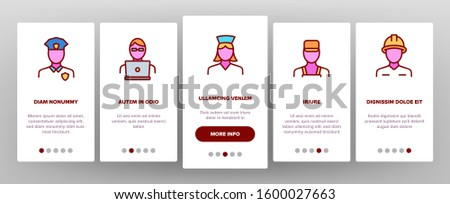 Occupation Onboarding Mobile App Page Screen Vector. Policeman And Doctor, Teacher And Nurse, Builder And Military, Occupation Illustrations