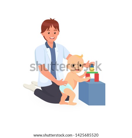 Occupational therapy treatment session on screening child development of baby. Concept for pediatric clinic, pediatrician and learning in children. Vector illustration isolated on white background.