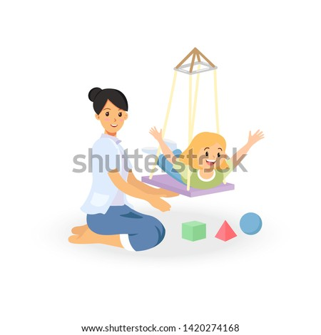 Occupational therapy treatment session on screening development of kids. Concept for pediatric clinic, pediatrician and learning in children. Vector illustration isolated on white background.