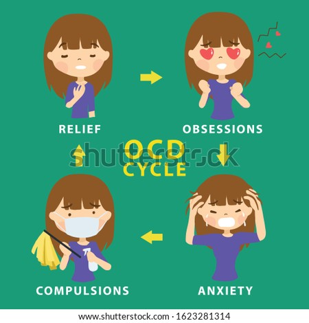 OCD Obsessive Compulsive Disorder Cycle . Mental Illness Signs and Symptoms Infographic Vector Illustration Stock photo ©