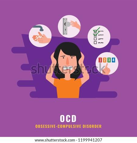 OCD. Obsessive compulsive disorder. Mental health illustration
