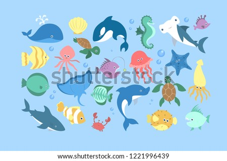 Ocean and sea animal set. Collection of aquatic creature. Crab and fish, cute seahorse and starfish. Marine turtle. Vector flat illustration