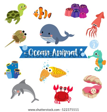 ocean animal cartoon on white