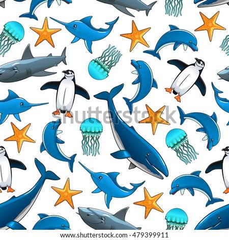 ocean animals cartoon seamless