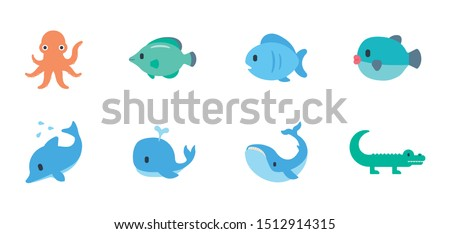 Ocean Animals Vector Illustration Emojis, Icons Set. Fishes, Dolphin, Whale, Octopus Symbols. Sea Mammals Collection