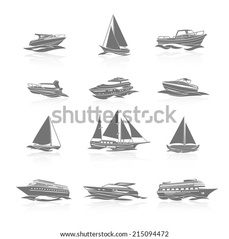 Ocean cruise liner ship and sailboat yachts boats silhouettes black pictograms collection abstract graphic isolated vector illustration