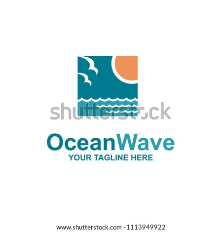 ocean emblem with waves, sun and seagulls