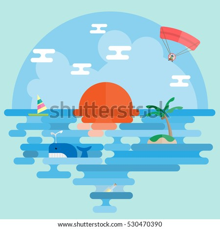 ocean flat scene design