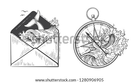 Ocean graphic vector illustration with compass, waves, whale tail in envelope. Travel, outdoor, adventure, explore symbol. Hand drawn engraving style for tattoo, print, poster, sticker, card design