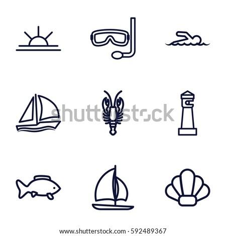 ocean icons set set of 9 ocean