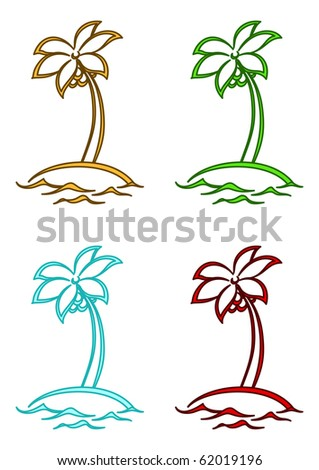 Ocean islands with palm trees, four multi-coloured variants