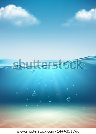Ocean landscape realistic. Underwater flowing transparent water bubbles splashes light sunrise marine surface vector nature background with clouds