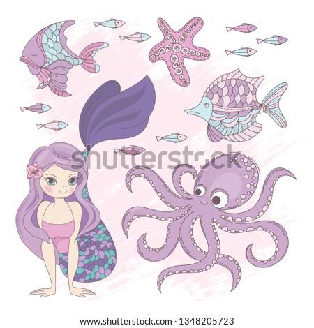 OCEAN Mermaid Princess Cartoon Sea Summer Tropical Cruise Vacation Vector Illustration Set