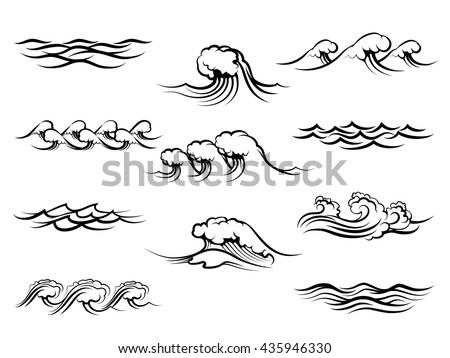 ocean or sea waves isolated on