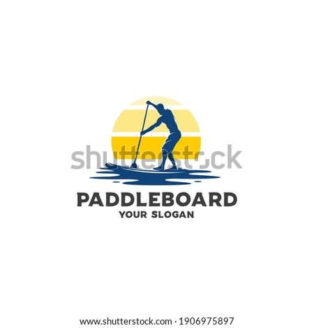 ocean paddleboard silhouette logo vector Stock photo ©