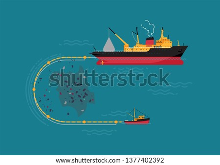 Ocean pollution removal program concept vector illustration. World ocean environment protection visual with ships collecting plastic from water surface