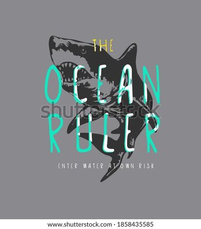ocean ruler slogan on shark background illustration stock photo