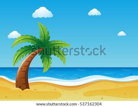 ocean scene with coconut tree