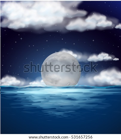 Ocean scene with fullmoon at night illustration