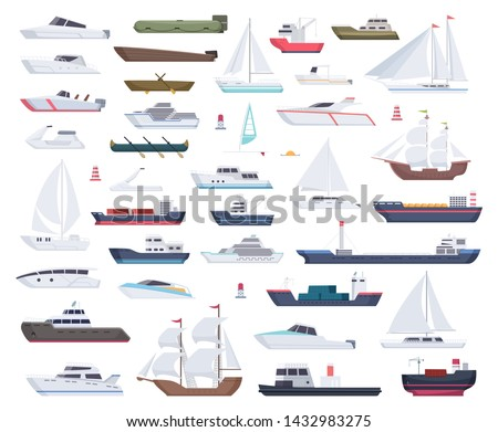 Ocean ships. Yacht sailing boats and travel big and little vessel vector cartoon collection. Illustration of speedboat and powerboat, tugboat and sailboat