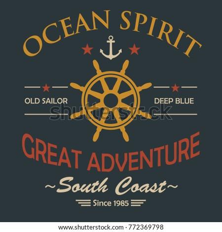 Ocean Spirit Vintage T-Shirt Design. Vector.