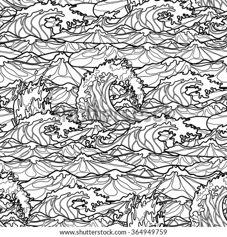 ocean waves coloring pages for kids | Ocean Storm Waves Seamless Pattern Drawn In Line Art Style ...