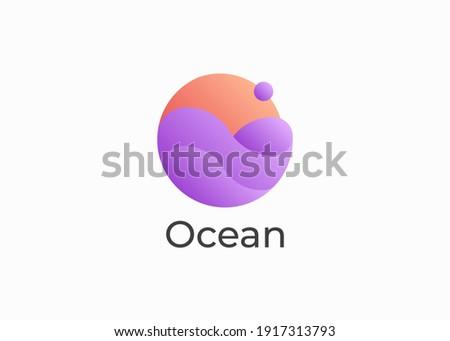 ocean sun wave 3d gradient logo
