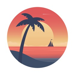 Ocean sunset with palm tree and ship.