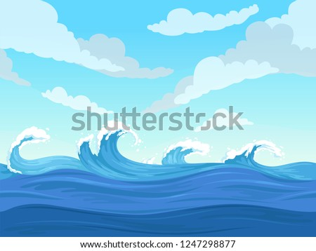 Ocean surface wave seamless. Underwater cartoon liquid pattern river and sea vector background